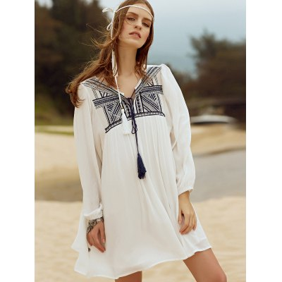 Ethnic Embroidered Long Sleeve Women's White Dress