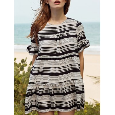 Round Neck Butterfly Sleeve Loose Striped Dress