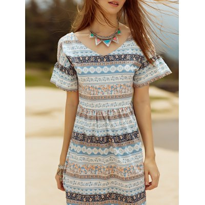 V Neck Short Sleeve Cut Out Printed Dress