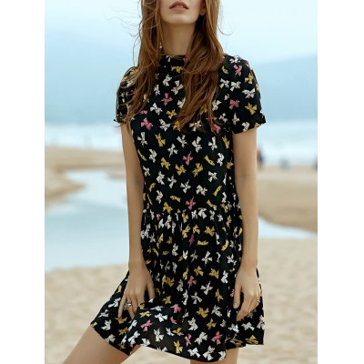 Stand Neck Short Sleeve Fitting Printed Dress