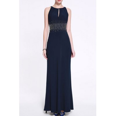 Solid Color Beaded Maxi Evening Dress