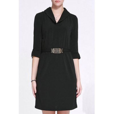 Shawl Collar Belted Bodycon Dress