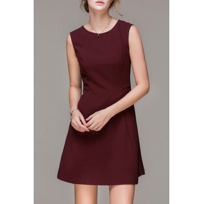 A Line Round Collar Sleeveless Dress