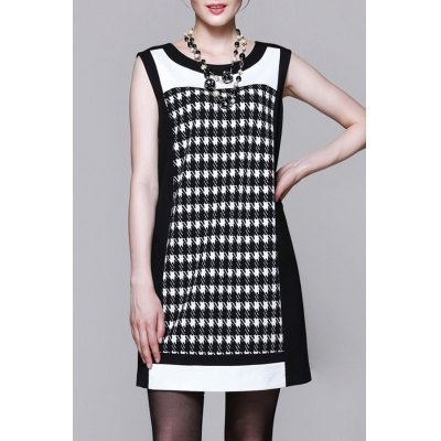 Houndstooth Mini A Line Dress