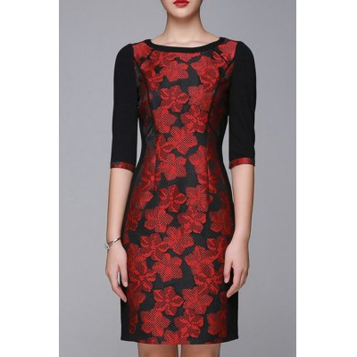 Flower Jacquard OL Half Sleeve Dress