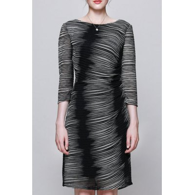 Round Collar Ombre Bodycon Dress
