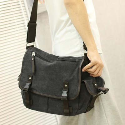 Preppy Canvas and Solid Color Design Messenger Bag For MenMens Bags<br>Preppy Canvas and Solid Color Design Messenger Bag For Men<br><br>Gender: For Men<br>Pattern Type: Solid<br>Closure Type: Hasp,Zipper<br>Main Material: Canvas<br>Length: 39CM<br>Width: 15CM<br>Height: 32CM<br>Weight: 1.2000kg<br>Package Contents: 1 x Messenger Bag