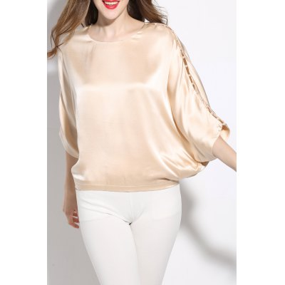 Round Neck Solid Color Loose T-Shirt