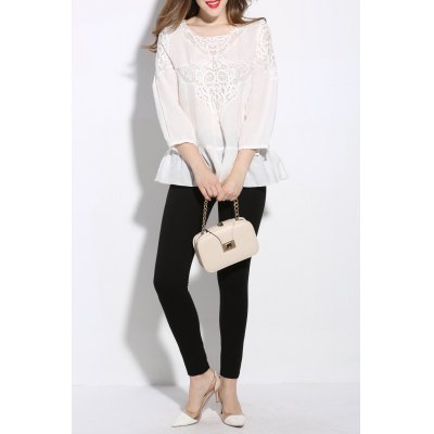 Round Neck Solid Color Spliced T-Shirt