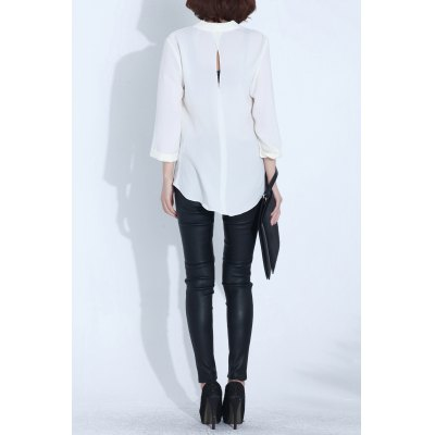 Plunging Neck Asymmetric BlouseDesigner Tops<br>Plunging Neck Asymmetric Blouse<br><br>Material: Polyester,Spandex<br>Composition: 93% Polyester,7% Spandex<br>Clothing Length: Long<br>Sleeve Length: Three Quarter<br>Collar: Plunging Neck<br>Pattern Type: Solid<br>Style: Casual<br>Seasons: Spring/Fall,Summer<br>Weight: 0.350kg<br>Package Contents: 1 x Blouse
