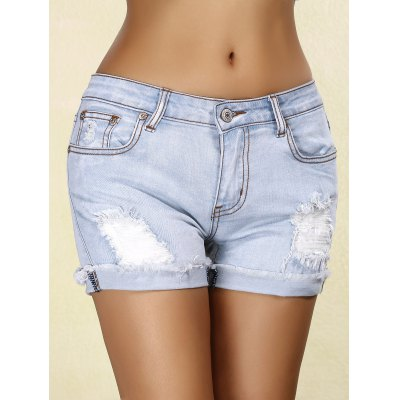 Rippped Denim Cuffed Shorts