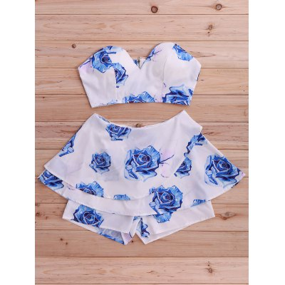Stylish Floral Print Tube Top and Skirted Shorts Set For Women
