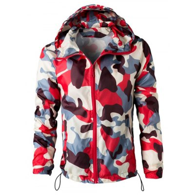 Hooded Camouflage Long Sleeve Polyester Jacket For Men