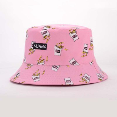 Letter Applique Fries Pattern Bucket Hat For Women