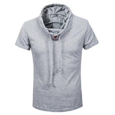 Heaps Collar Buttons Embellished Shorts Sleeve T-Shirt For Men