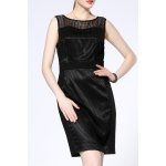 Round Collar Solid Color Sleeveless Dress deal