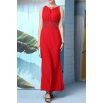 Buy Beaded Solid Color Maxi Evening Dress