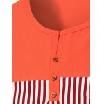 Stripes Round Neck Button Design Color Block Short Sleeves T-Shirt For Men deal