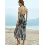 Stylish Halter Sleeveless Wavy Striped Women's Dress photo