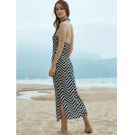 best Stylish Halter Sleeveless Wavy Striped Women's Dress