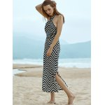 Stylish Halter Sleeveless Wavy Striped Women's Dress for sale