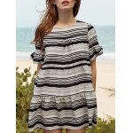 Stylish Round Neck Butterfly Sleeve Loose Striped Women's Dress