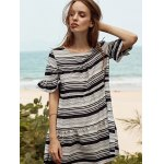 Stylish Round Neck Butterfly Sleeve Loose Striped Women's Dress photo