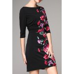 Slash Neck Rose Print Mini Dress for sale