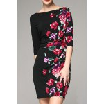 Slash Neck Rose Print Mini Dress deal