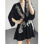 cheap Stylish Plunging Neck Long Sleeve Flower Embroidery Women's Dress
