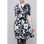 Round Collar Printed Half Sleeve Dress deal