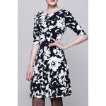 Round Collar Printed Half Sleeve Dress for sale