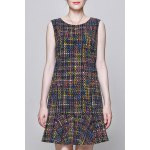 Colorful Plaid Sleeveless Dress deal