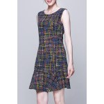 Colorful Plaid Sleeveless Dress for sale