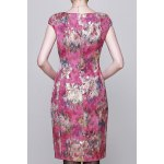 cheap Floral Jacquard Bodycon Sleeveless Dress