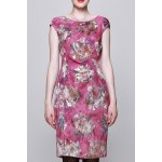 Floral Jacquard Bodycon Sleeveless Dress