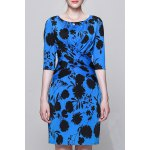 Plant Print Ruched Work Dress