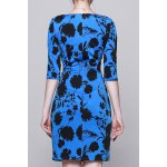 cheap Plant Print Ruched Work Dress