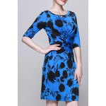 Plant Print Ruched Work Dress deal