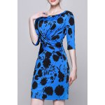 Plant Print Ruched Work Dress for sale