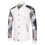 cheap Stand Collar Long Sleeve Rib Spliced Floral Print Button-Up Sweatshirt