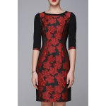 Flower Jacquard Half Sleeve OL Dress