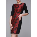 Flower Jacquard Half Sleeve OL Dress for sale