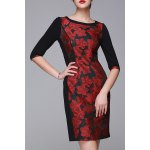 Flower Jacquard Half Sleeve OL Dress deal