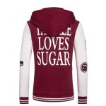 Hooded Letters Embroidered Applique Long Sleeve Zipper Hoodie deal
