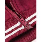 Hooded Letters Embroidered Applique Long Sleeve Zipper Hoodie photo