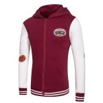 cheap Hooded Letters Embroidered Applique Long Sleeve Zipper Hoodie
