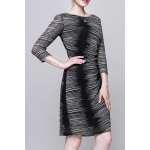 Round Collar Ombre Bodycon Dress for sale