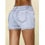 cheap Stylish Rippped Denim Cuffed Shorts For Women
