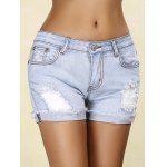 Stylish Rippped Denim Cuffed Shorts For Women